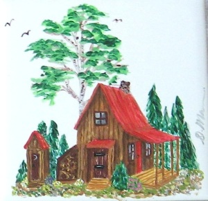 painting_cabin in the woods